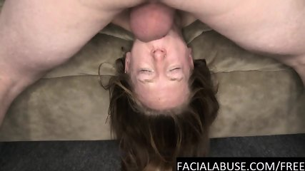 Flexible slut gets her throat pounded