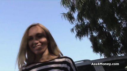 Broke blonde fixes money problems by bending over