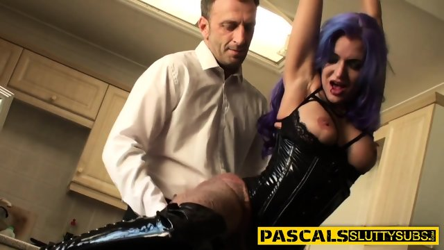 Submissive skank throated