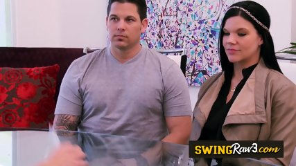 Married duo comes over to the swing house to celebrate husband s birthday