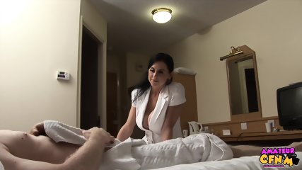 Busty Girl With Stockings Takes Care Of Dick - scene 1
