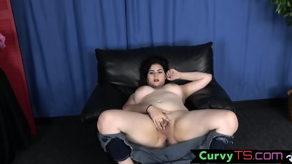 Busty raven tranny babe tugs cock