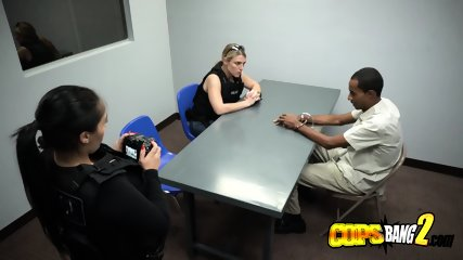 Skinny criminal gives milf cops a rimjob before drilling their coochies