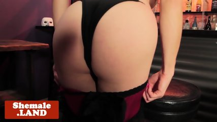 Lingeried TS beauty toys ass in solo session