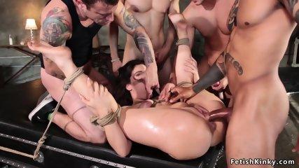 Busty bound babe double penetration banged
