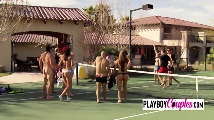 Swingers meet and greet by going nude as they play in the backyard