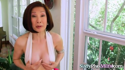 Asian Granny Enjoys Anal With Two Hard Cocks
