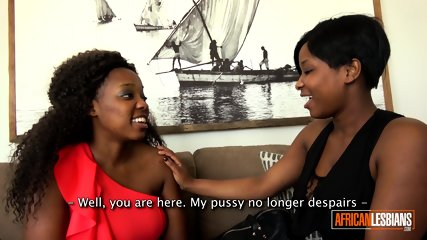 African lesbians eating pussy and fucking hard with strap-on