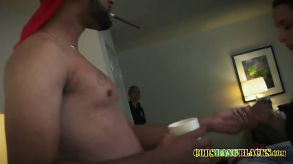 Perverted milf cops manipulate criminal into banging their coochies