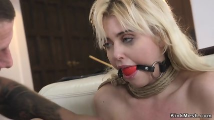Dude anal and pussy fucks tied up blonde