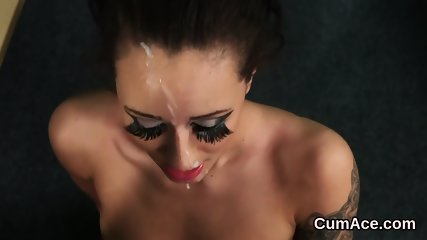 Slutty idol gets cumshot on her face sucking all the cum