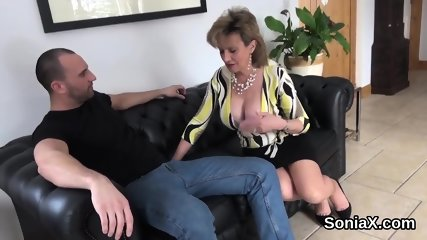 Unfaithful english milf lady sonia flaunts her monster hooters