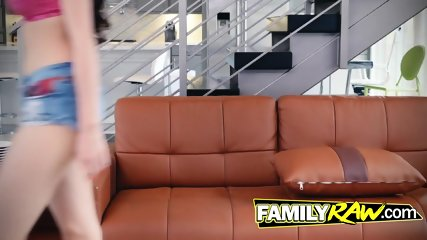 Asian stepdaughter playing with a ravaging beast