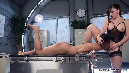 Busty patient whips ass to ebony doctor