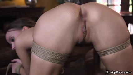 Tied up and spreaded babe anal banged