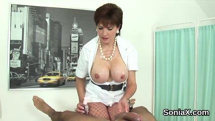 Unfaithful english mature lady sonia presents her oversized boobies