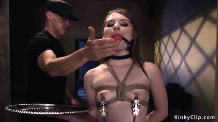 Master rubs pussy to slut with spur