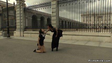 Slut treated like a dog in public