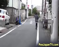 Asian Teen Squats To Piss