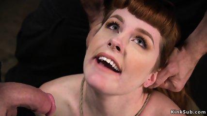 Redhead banged in threesome training