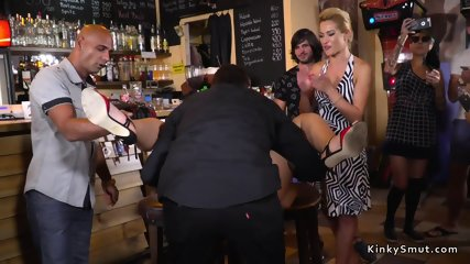 Hot blonde bound and banged in public