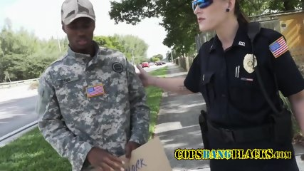 black Soldier gets picked off the street but complies with busty female white cops in reality show