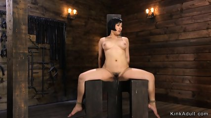 Hairy Asian Milf toyed in hogtie