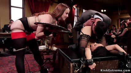 Slaves anal and dp banged at orgy party