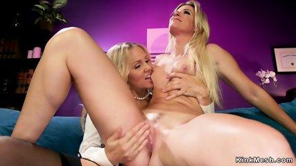 Hot ass blonde anal doggy lezdom