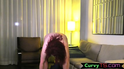 Thicc trans chick strips and masturbates