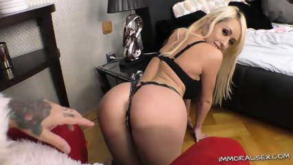Busty blonde gets facial
