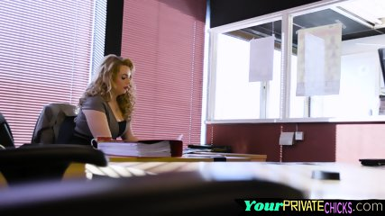 Deepthroating office babe gets pounded