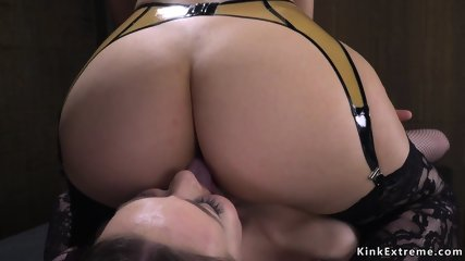 Busty domme anal fucking two lesbians