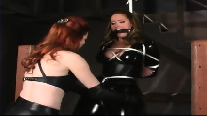 Leather bondage (christina carter) - dominatrix redhead