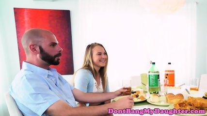 Naughty teen wanks cock under dining table - scene 2
