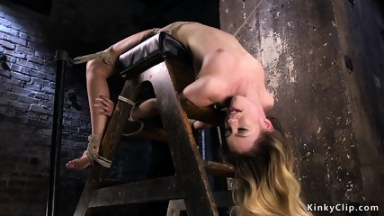 Backbend hogtied blonde pussy fingered
