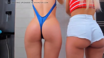 Two incredibly hot young adults web camera young women with captivating bum teasing, no bare