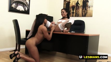 Boss and worker engage in steamy lesbian sex by licking their coochies