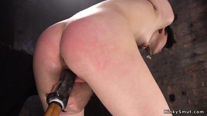 Pretty brunette pussy toyed in bondage
