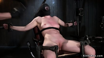 Hot slave pressed with huge stakes