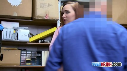April gets her tiny mouth and cunt drilled by horny officers big cock