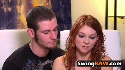 What happens in the Swing House stays in the Swing House . Swinger couple signs the contract.