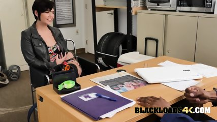 Gorgeous actress is coerced into sucking and taking directors big black cock