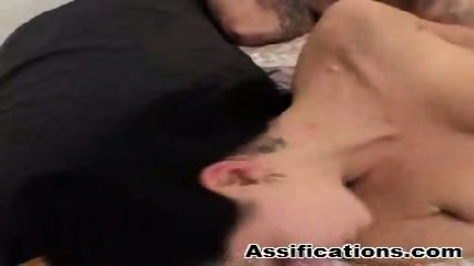 Tattooed brunette gets nailed hard plus a cumshot in the ass - scene 3