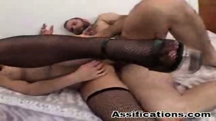Tattooed brunette gets nailed hard plus a cumshot in the ass - scene 5