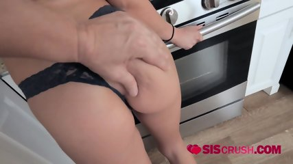 Athena gets her coochie fingered in the kitchen by horny stepbrother