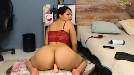Big ass horny latina rides dildo