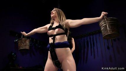 Busty mistress in latex anal fucks lesbian