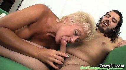 Mature blonde sucks and gets cumshot
