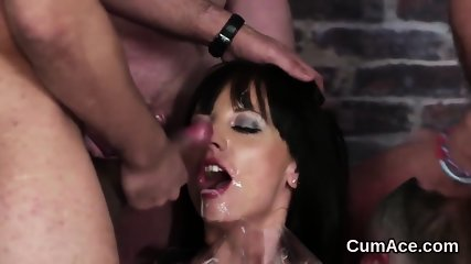 Unusual bombshell gets cumshot on her face eating all the juice